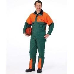 Forstschutz-Jacke grün-fluoreszierend orange ohne Schnittschutzeinlage