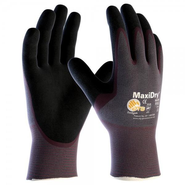 Handschuh MaxiDry 56-424, Nylon, grau, Nitrilbeschichtung