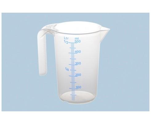Messbecher 500 ml, transparent, mit offenem Griff